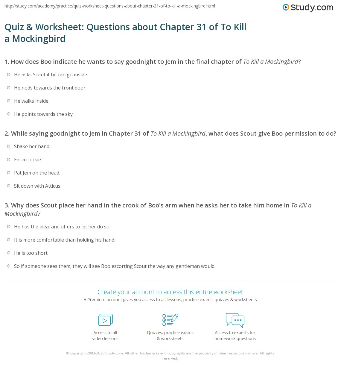 Quiz Amp Worksheet Questions About Chapter 31 Of To Kill A Mockingbird