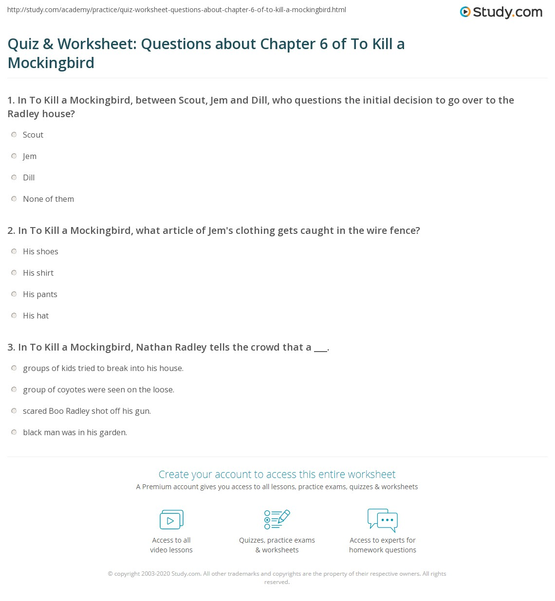 Quiz Amp Worksheet Questions About Chapter 6 Of To Kill A