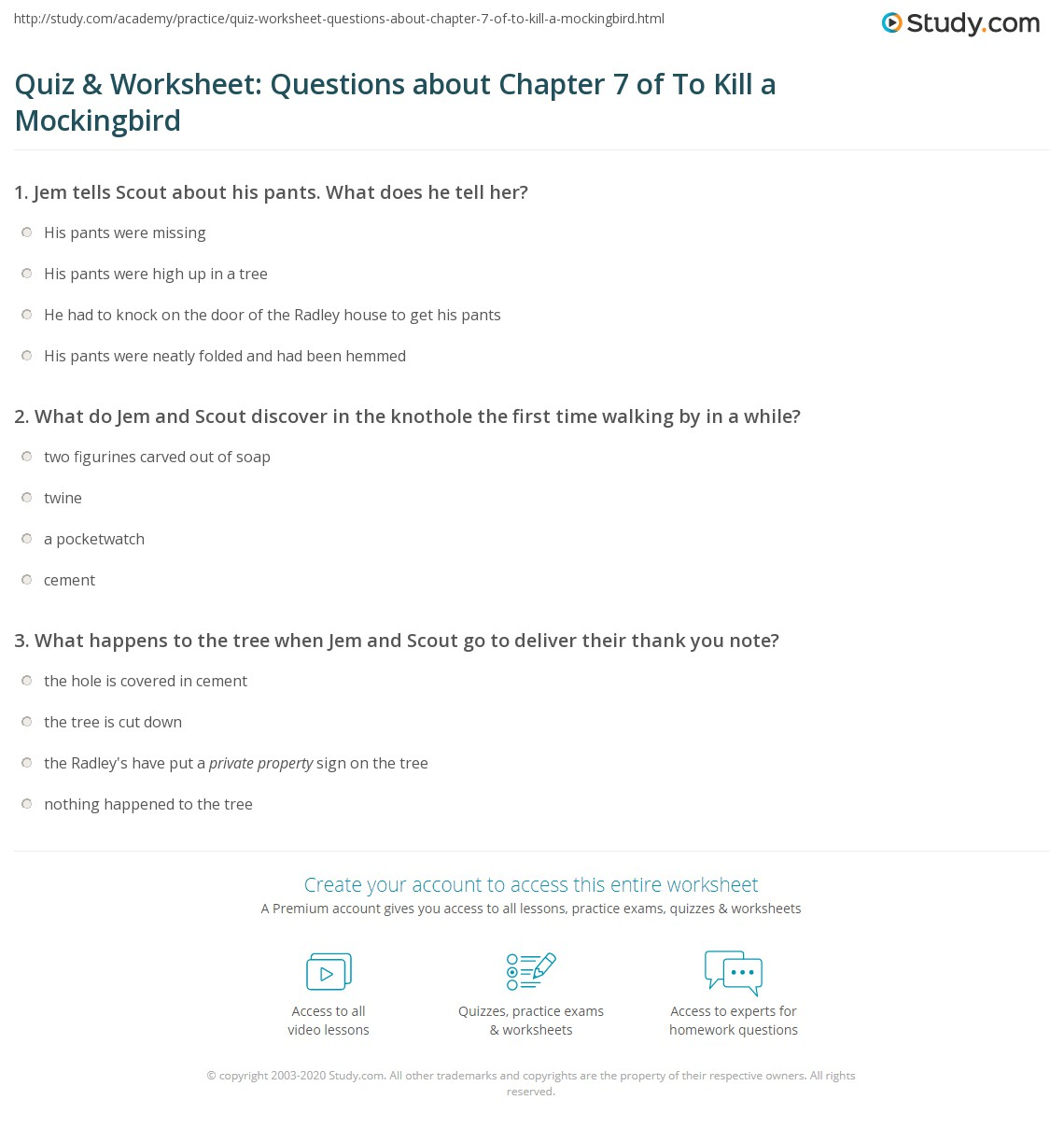 Quiz Amp Worksheet Questions About Chapter 7 Of To Kill A