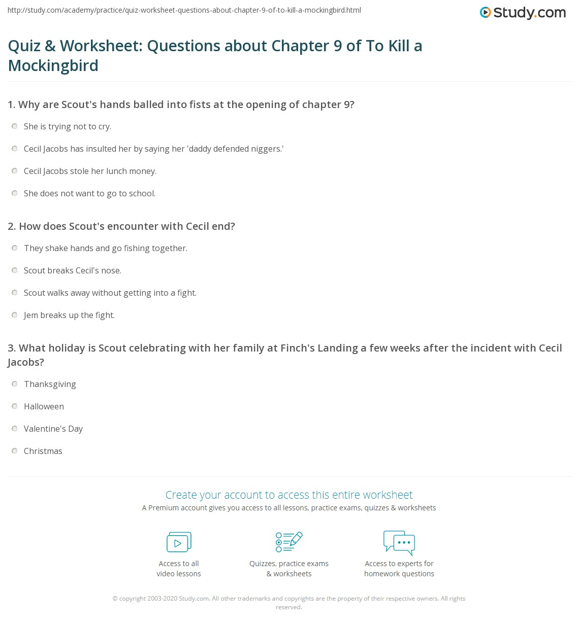 Quiz Amp Worksheet Questions About Chapter 9 Of To Kill A Mockingbird