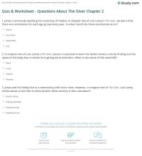 Quiz & Worksheet - Questions About The Giver Chapter 2 ...