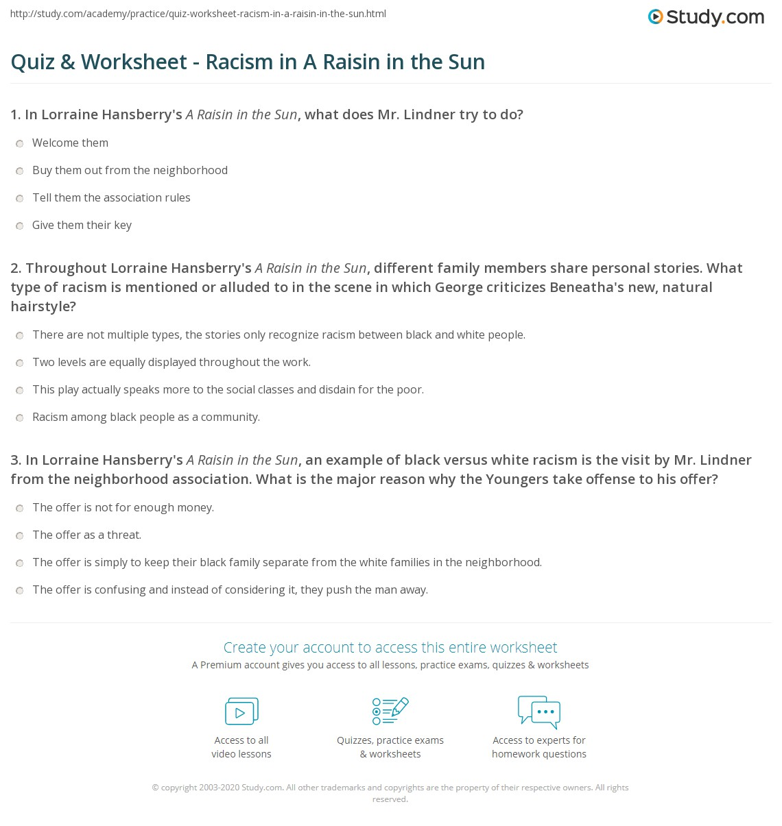 Vocabulary Worksheet A Raisin In The Sun