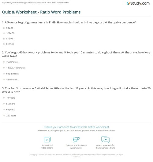 small resolution of Quiz \u0026 Worksheet - Ratio Word Problems   Study.com