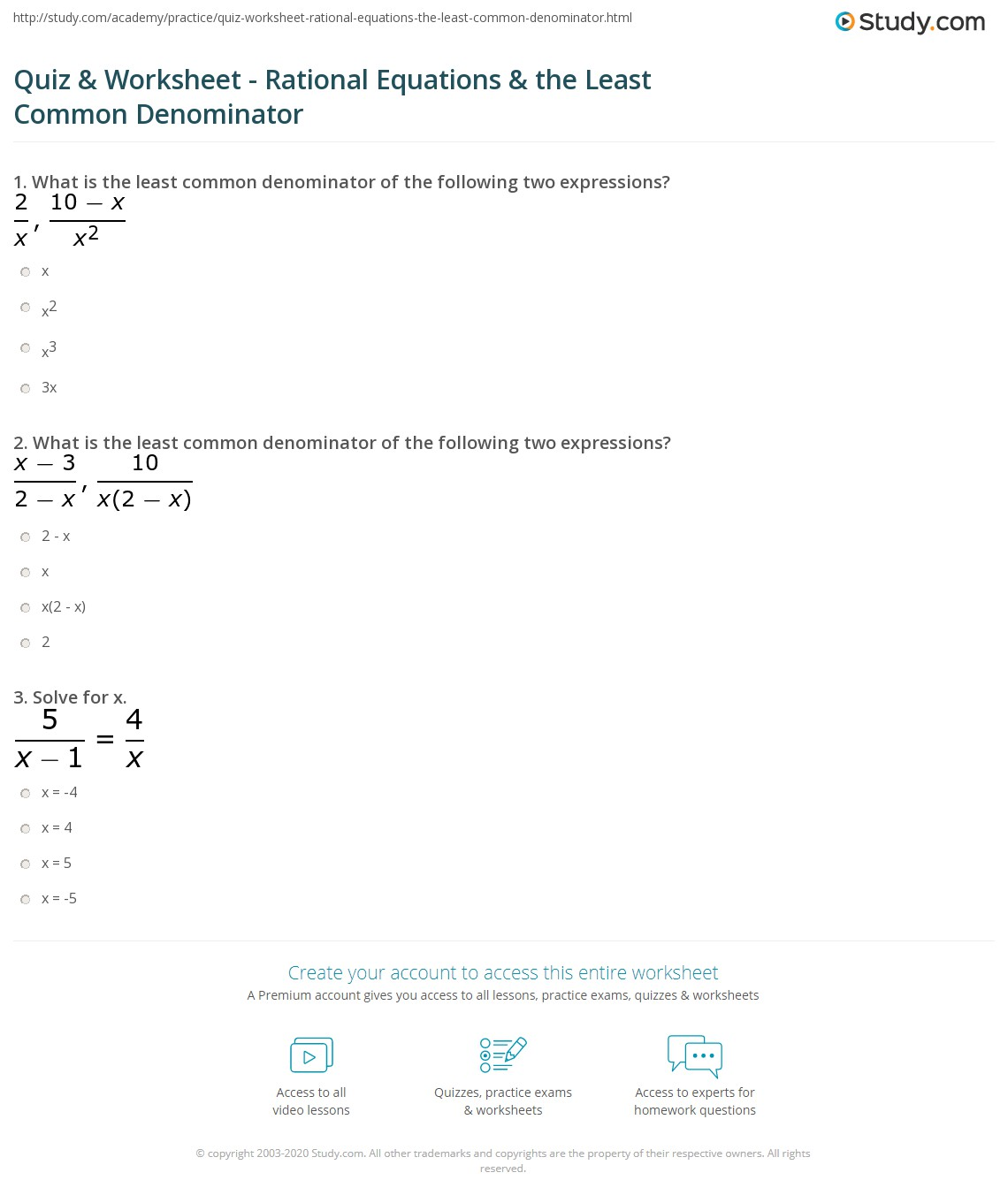 Solving Rational Equations Worksheet Answers