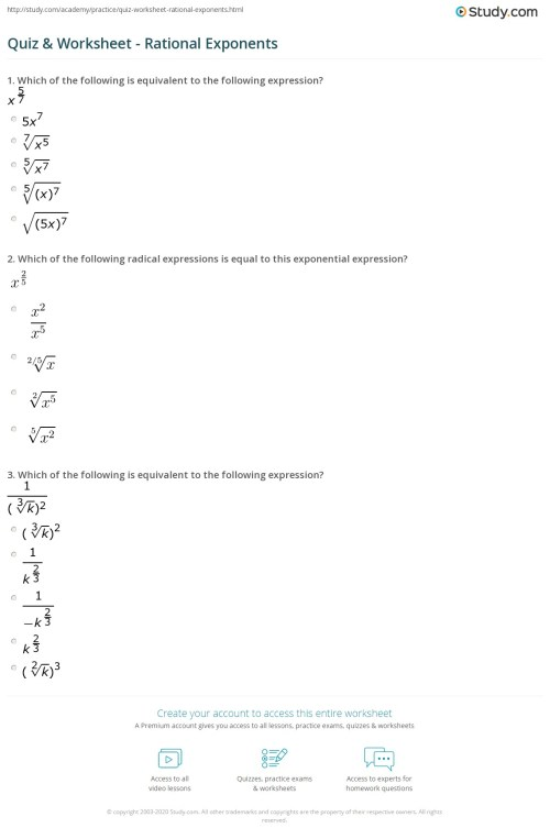 small resolution of 33 Exponents And Radicals Worksheet With Answers - Worksheet Resource Plans