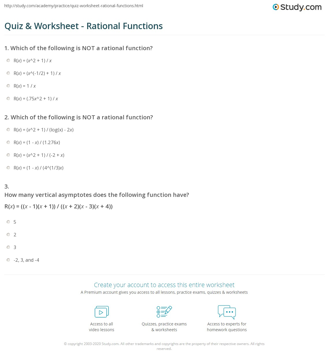Rational Functions Worksheet With Answers