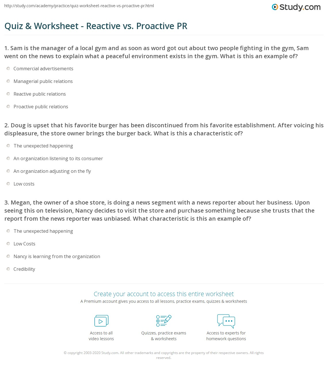 Be Proactive Worksheet