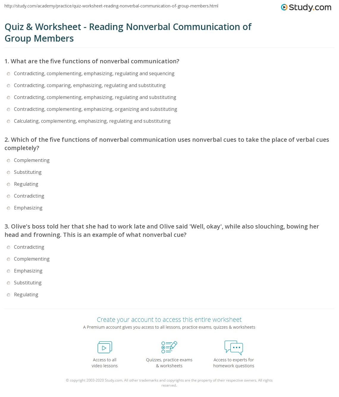 Nonverbal Communication Worksheet Work