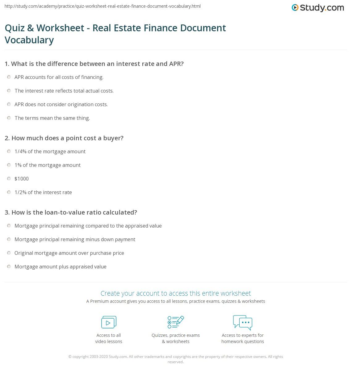 Real Estate Worksheet