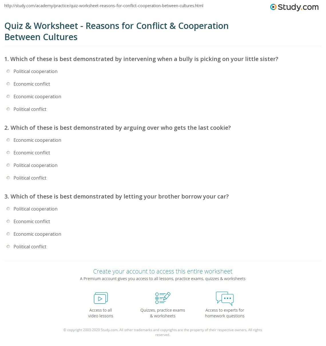 Cooperation Worksheet Math