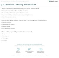 Quiz & Worksheet - Rebuilding Workplace Trust | Study.com
