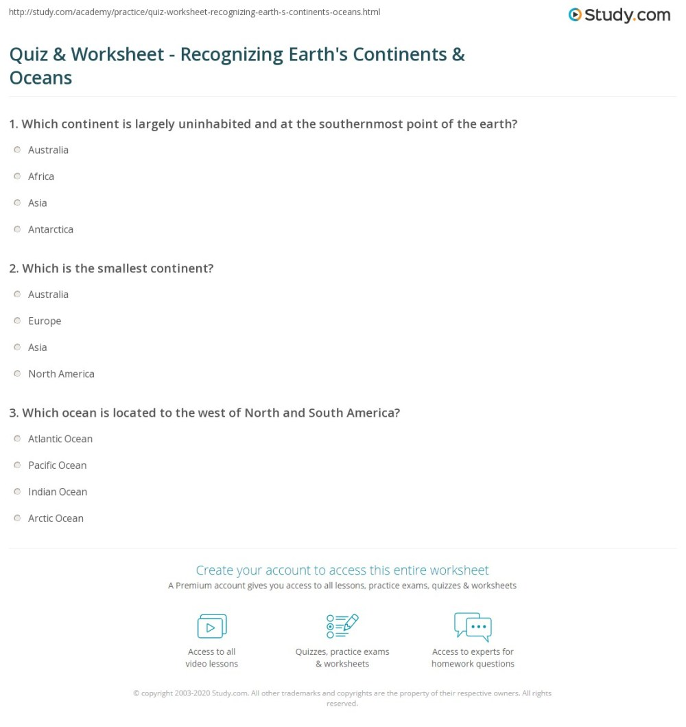 medium resolution of Quiz \u0026 Worksheet - Recognizing Earth's Continents \u0026 Oceans   Study.com