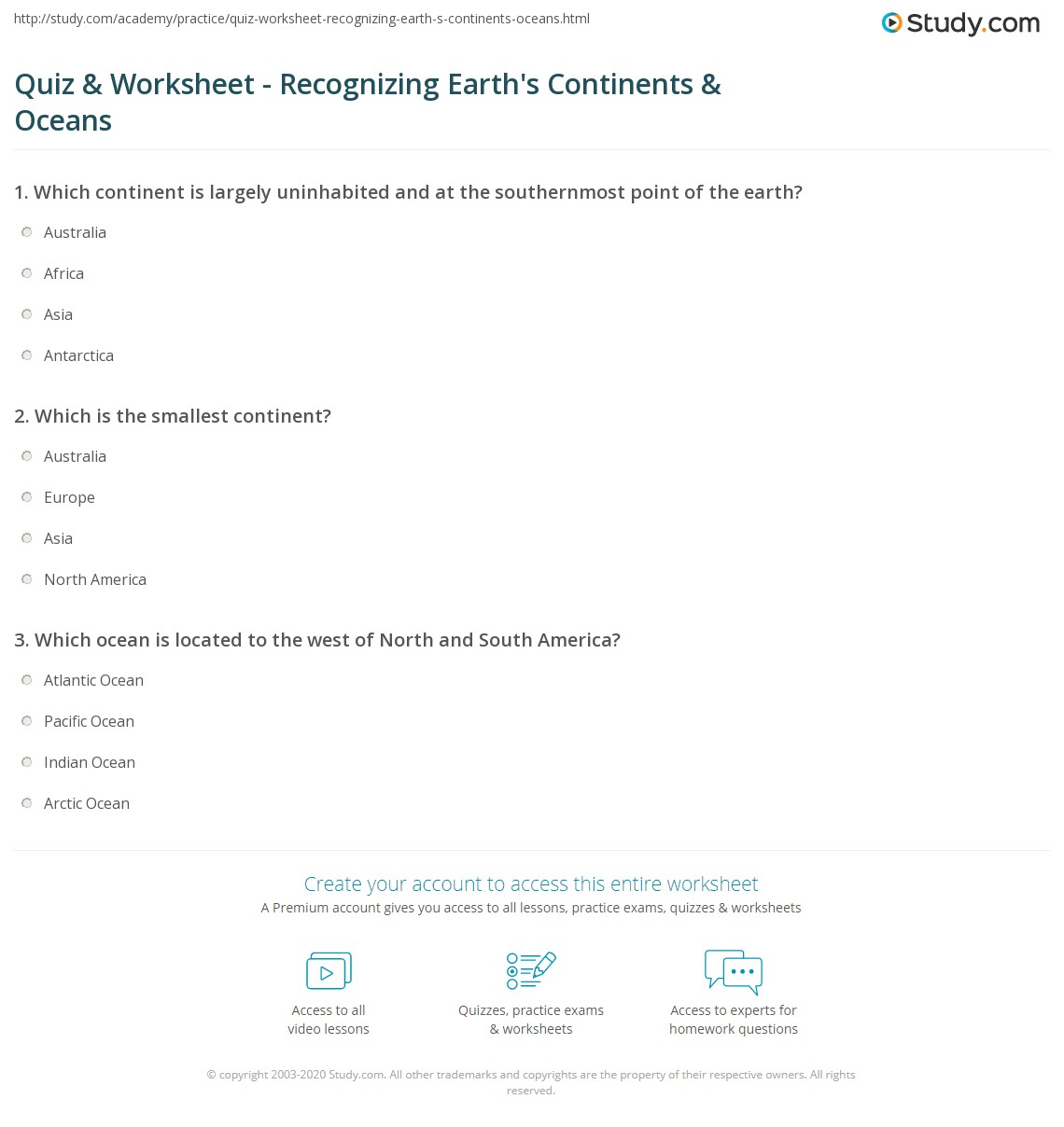 hight resolution of Quiz \u0026 Worksheet - Recognizing Earth's Continents \u0026 Oceans   Study.com