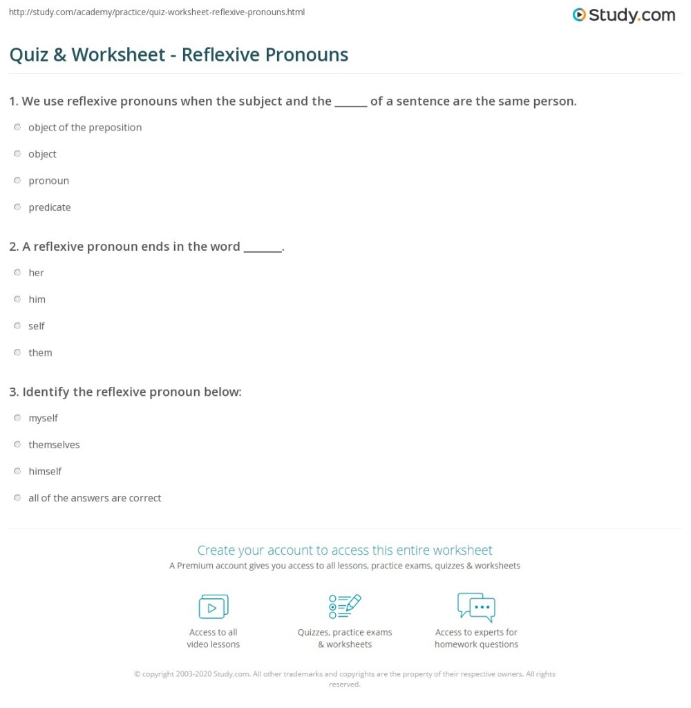 medium resolution of Quiz \u0026 Worksheet - Reflexive Pronouns   Study.com