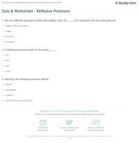 Quiz & Worksheet - Reflexive Pronouns   Study.com