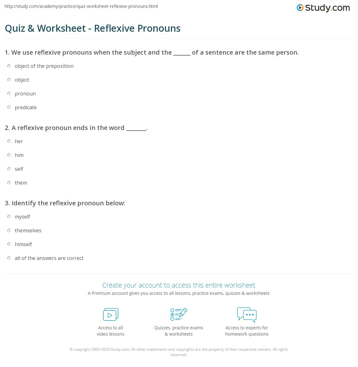 hight resolution of Quiz \u0026 Worksheet - Reflexive Pronouns   Study.com