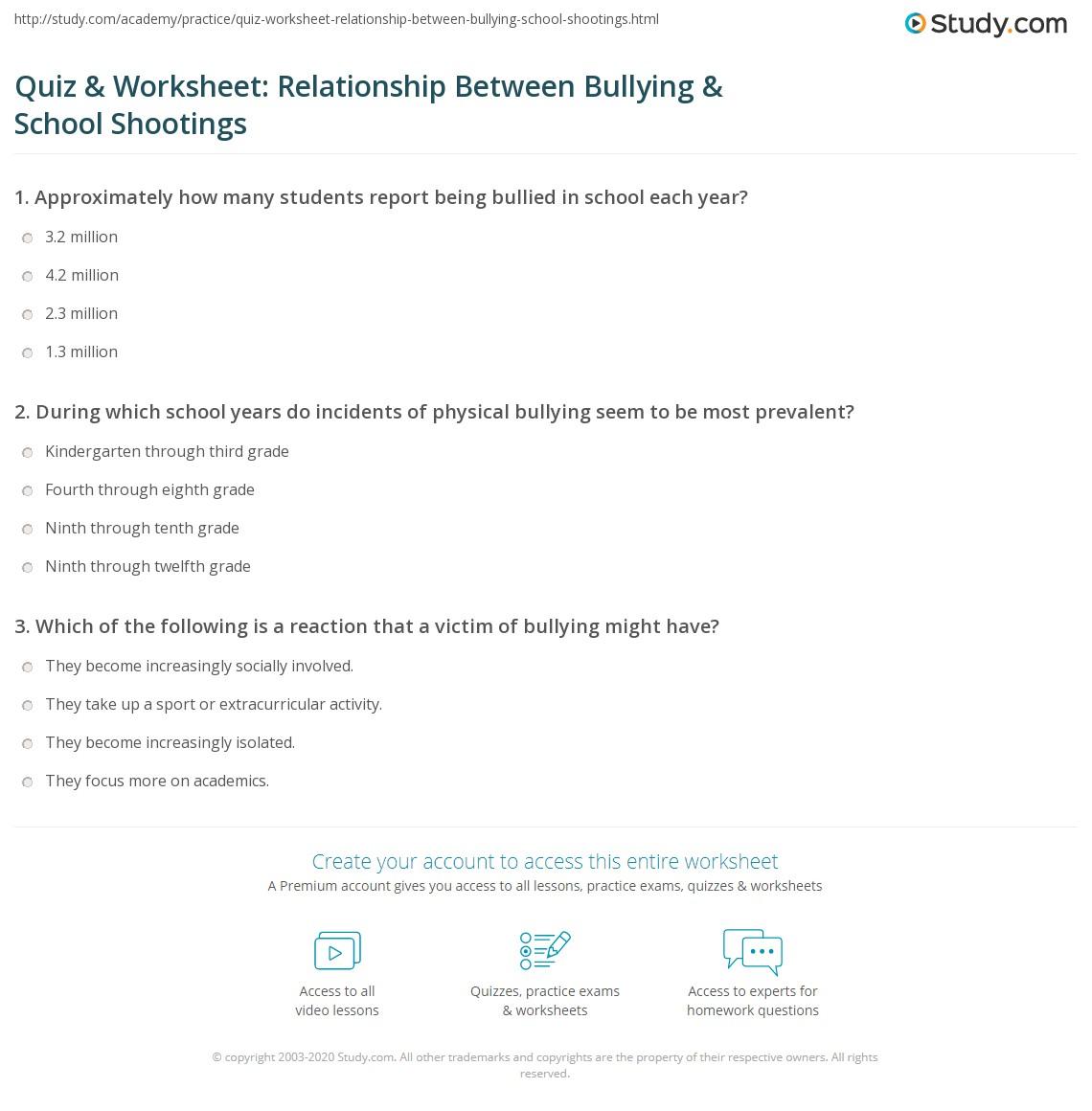 Quiz Amp Worksheet Relationship Between Bullying Amp School