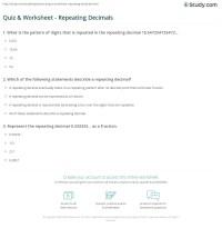 Terminating And Repeating Decimals Worksheet Free ...