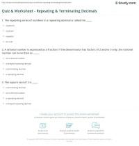 Quiz & Worksheet - Repeating & Terminating Decimals ...