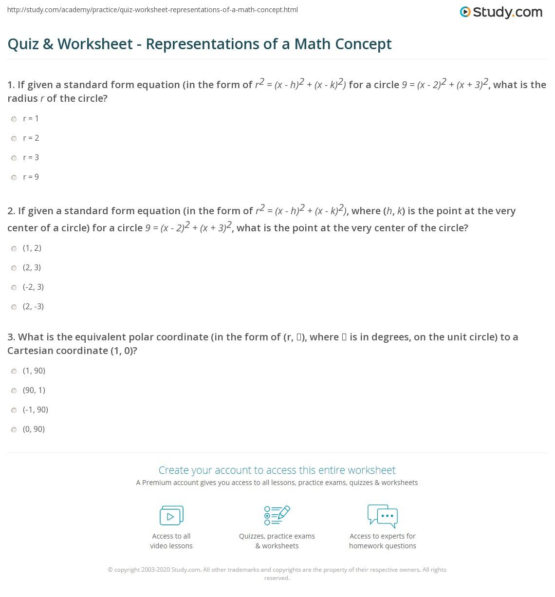 hight resolution of Quiz \u0026 Worksheet - Representations of a Math Concept   Study.com