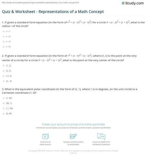 small resolution of Quiz \u0026 Worksheet - Representations of a Math Concept   Study.com