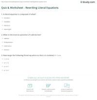 Free Math Worksheets Literal Equations - solving literal ...