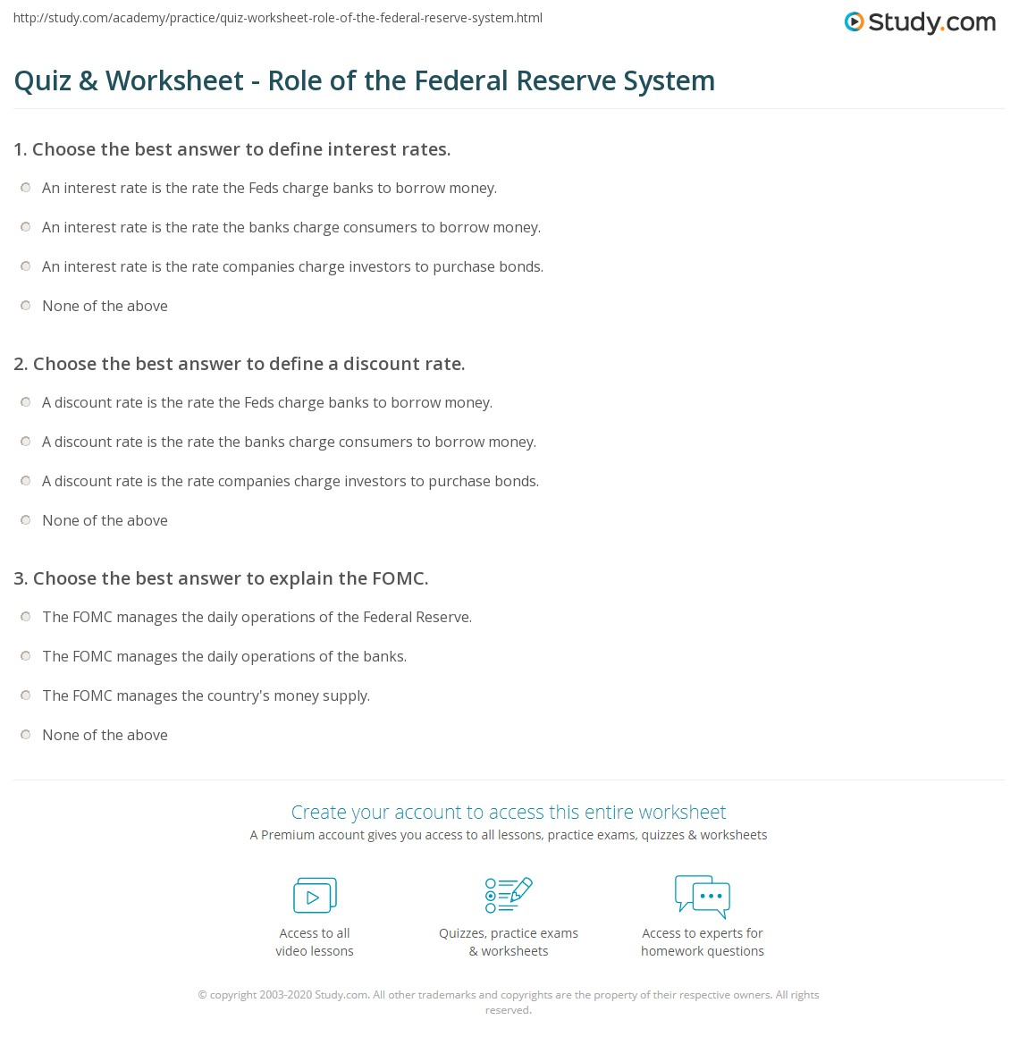 Federal Reserve Worksheet