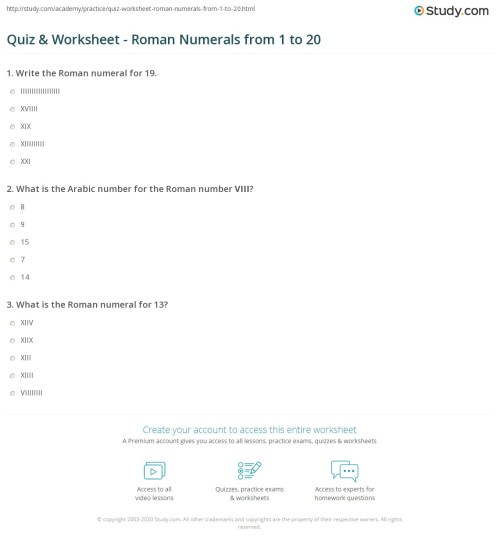 small resolution of Roman Numeral Number Series Worksheets   Printable Worksheets and  Activities for Teachers