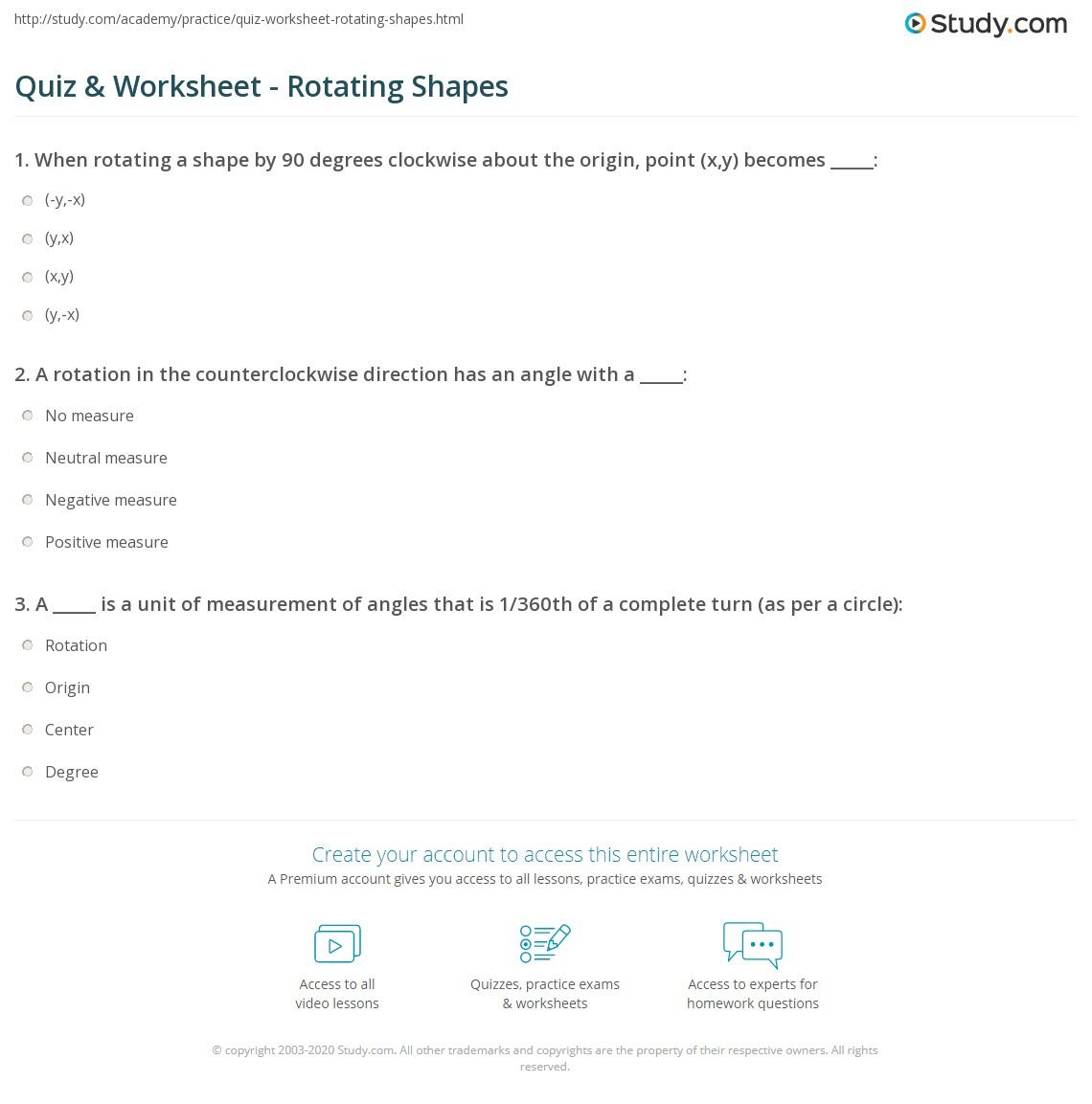 Rotation Of Shapes Worksheet