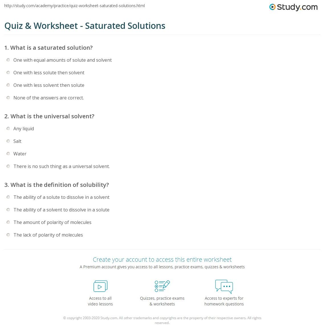 hight resolution of Quiz \u0026 Worksheet - Saturated Solutions   Study.com