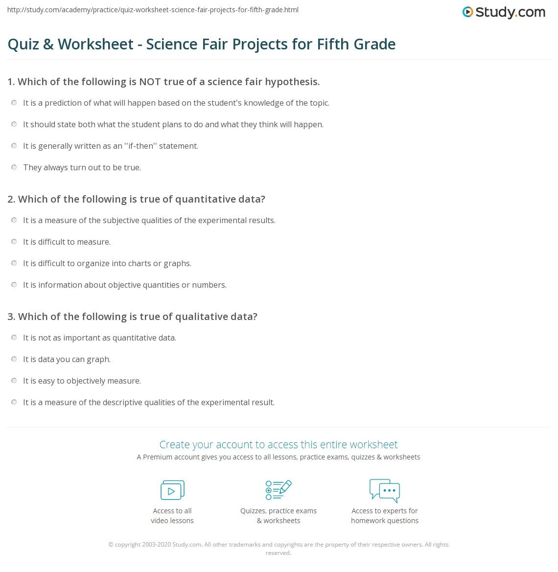 hight resolution of Quiz \u0026 Worksheet - Science Fair Projects for Fifth Grade   Study.com