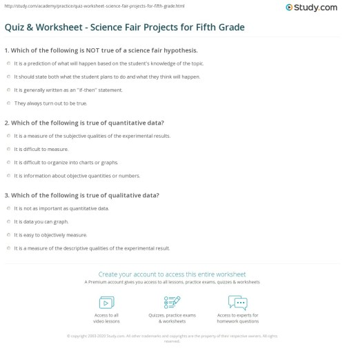 small resolution of Quiz \u0026 Worksheet - Science Fair Projects for Fifth Grade   Study.com