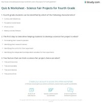 Quiz & Worksheet - Science Fair Projects for Fourth Grade ...