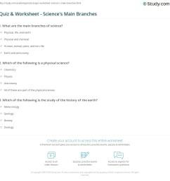 Quiz \u0026 Worksheet - Science's Main Branches   Study.com [ 1169 x 1140 Pixel ]