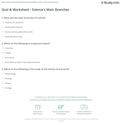 small resolution of Quiz \u0026 Worksheet - Science's Main Branches   Study.com