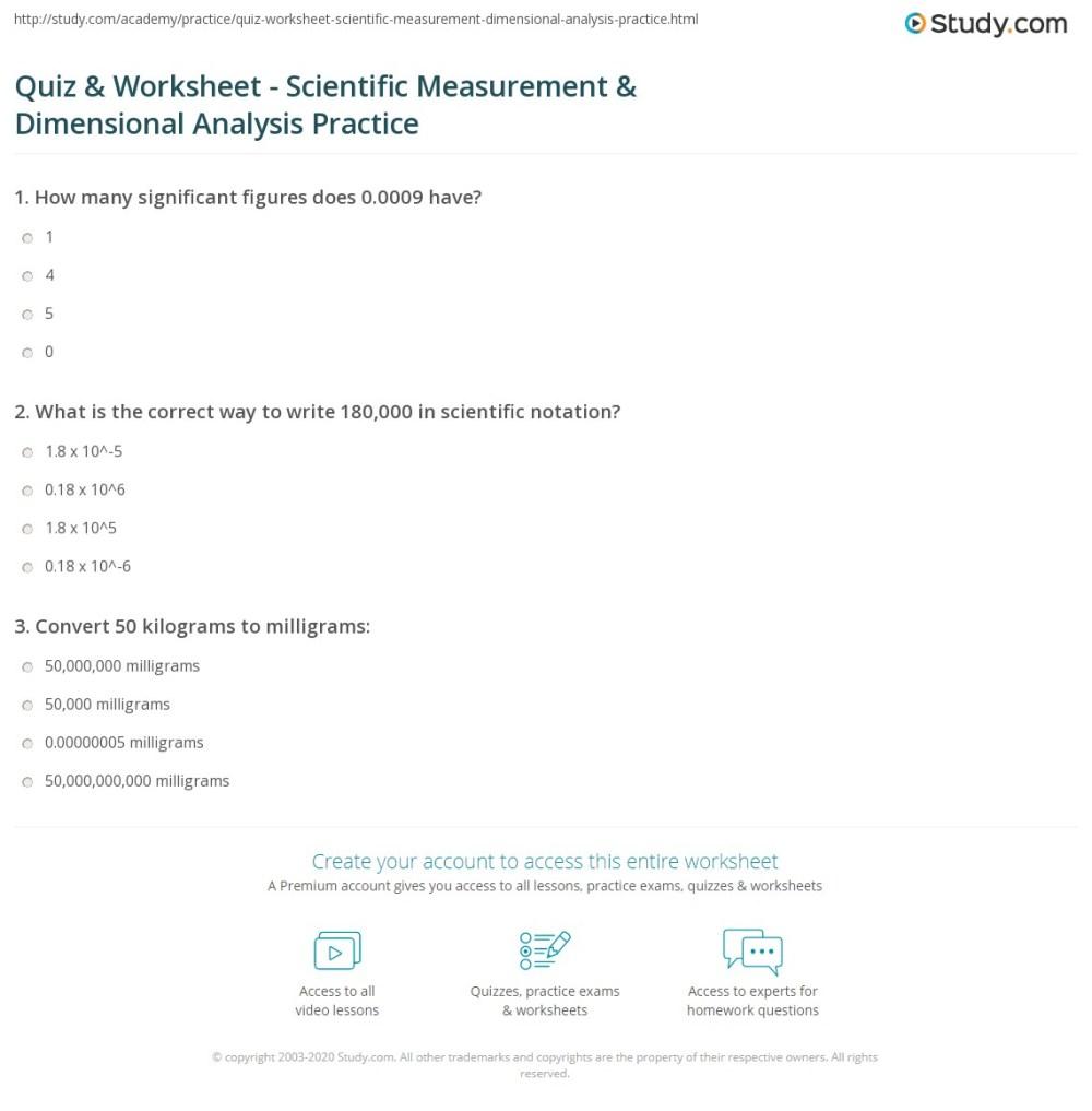 medium resolution of Dimensional Analysis Practice Worksheet