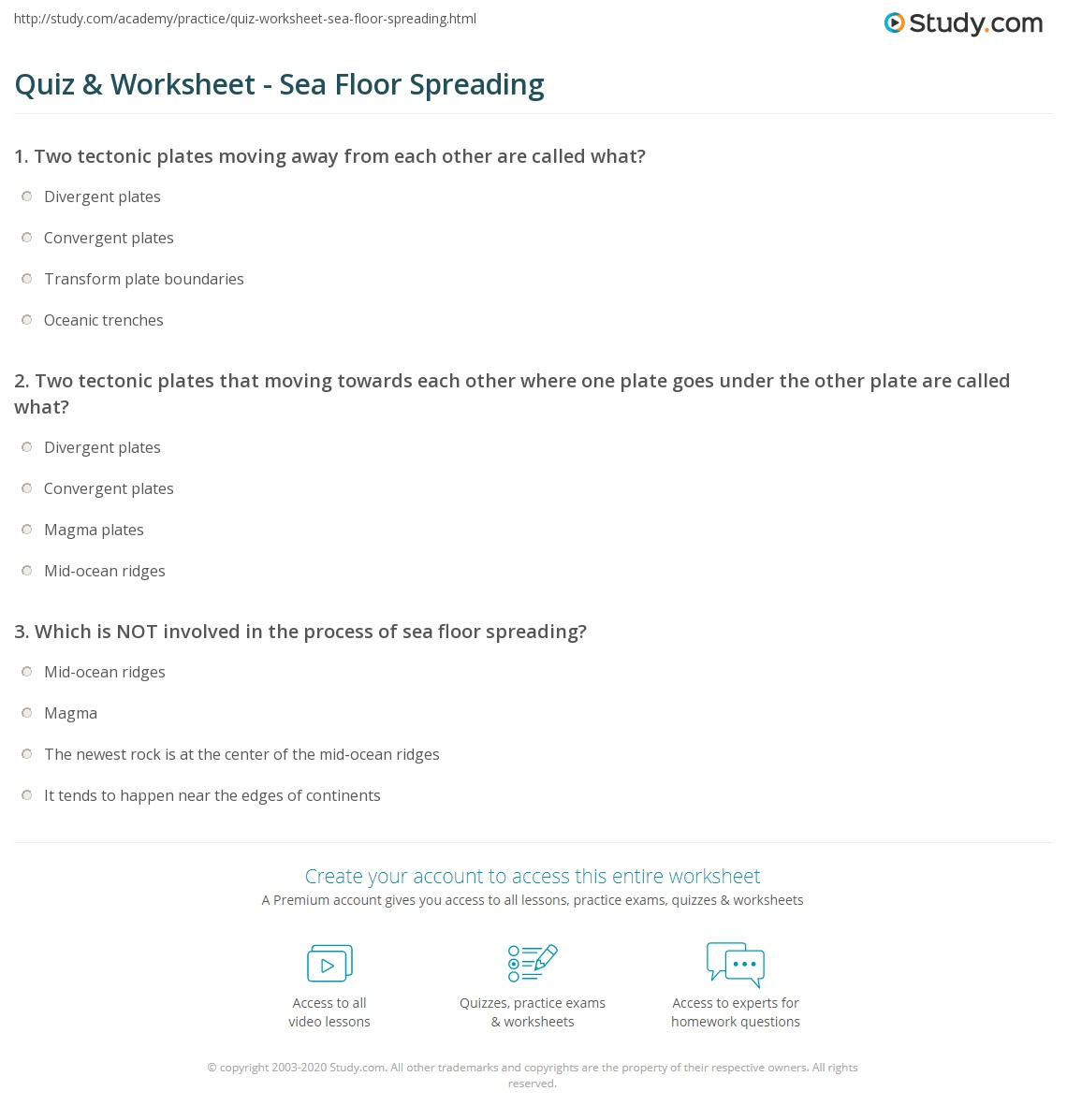 Sea Floor Spreading Worksheet Answers