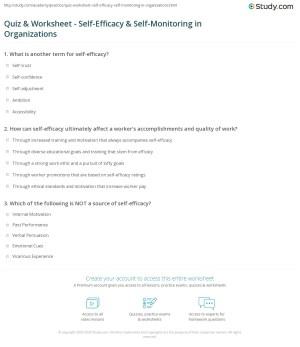 Quiz & Worksheet  SelfEfficacy & SelfMonitoring in
