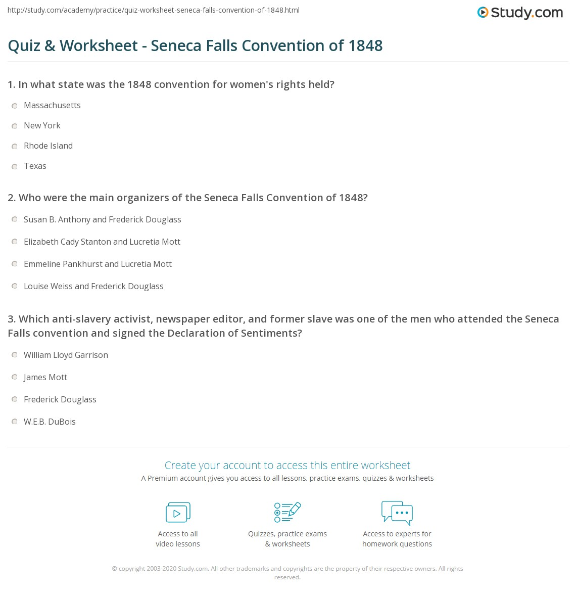 Quiz & Worksheet Seneca Falls Convention Of 1848 Study Com