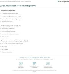 Quiz \u0026 Worksheet - Sentence Fragments   Study.com [ 1169 x 1140 Pixel ]