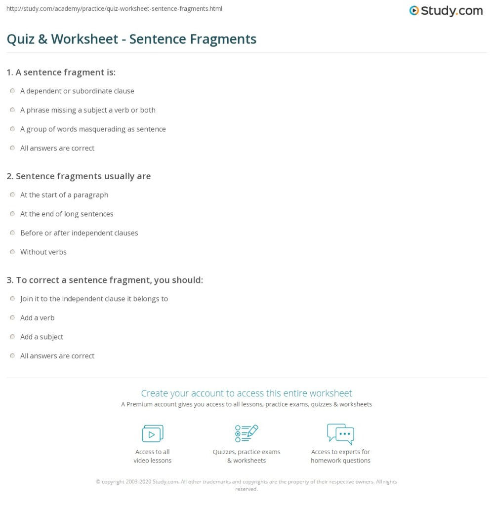 medium resolution of Quiz \u0026 Worksheet - Sentence Fragments   Study.com