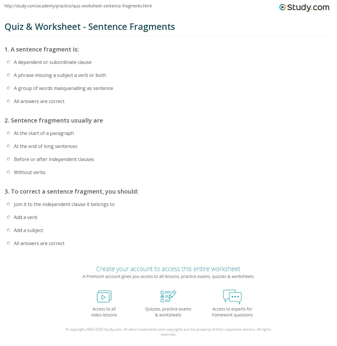 hight resolution of Quiz \u0026 Worksheet - Sentence Fragments   Study.com
