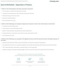 Quiz & Worksheet - Separation of Powers | Study.com