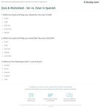 Quiz & Worksheet - Ser vs. Estar in Spanish | Study.com