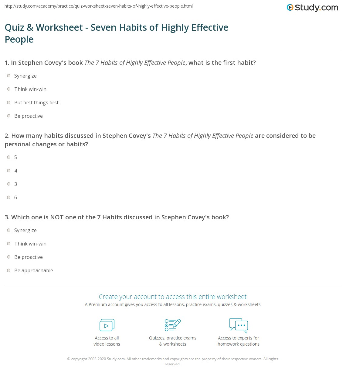 Printables 7 Habits Of Highly Effective Teens Worksheets