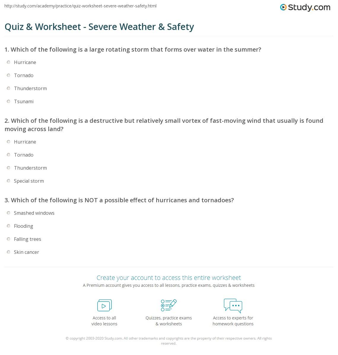 Saftey Worksheet 2nd Grade Weather