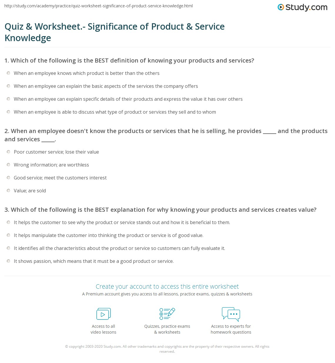 Quiz Amp Worksheet Significance Of Product Amp Service