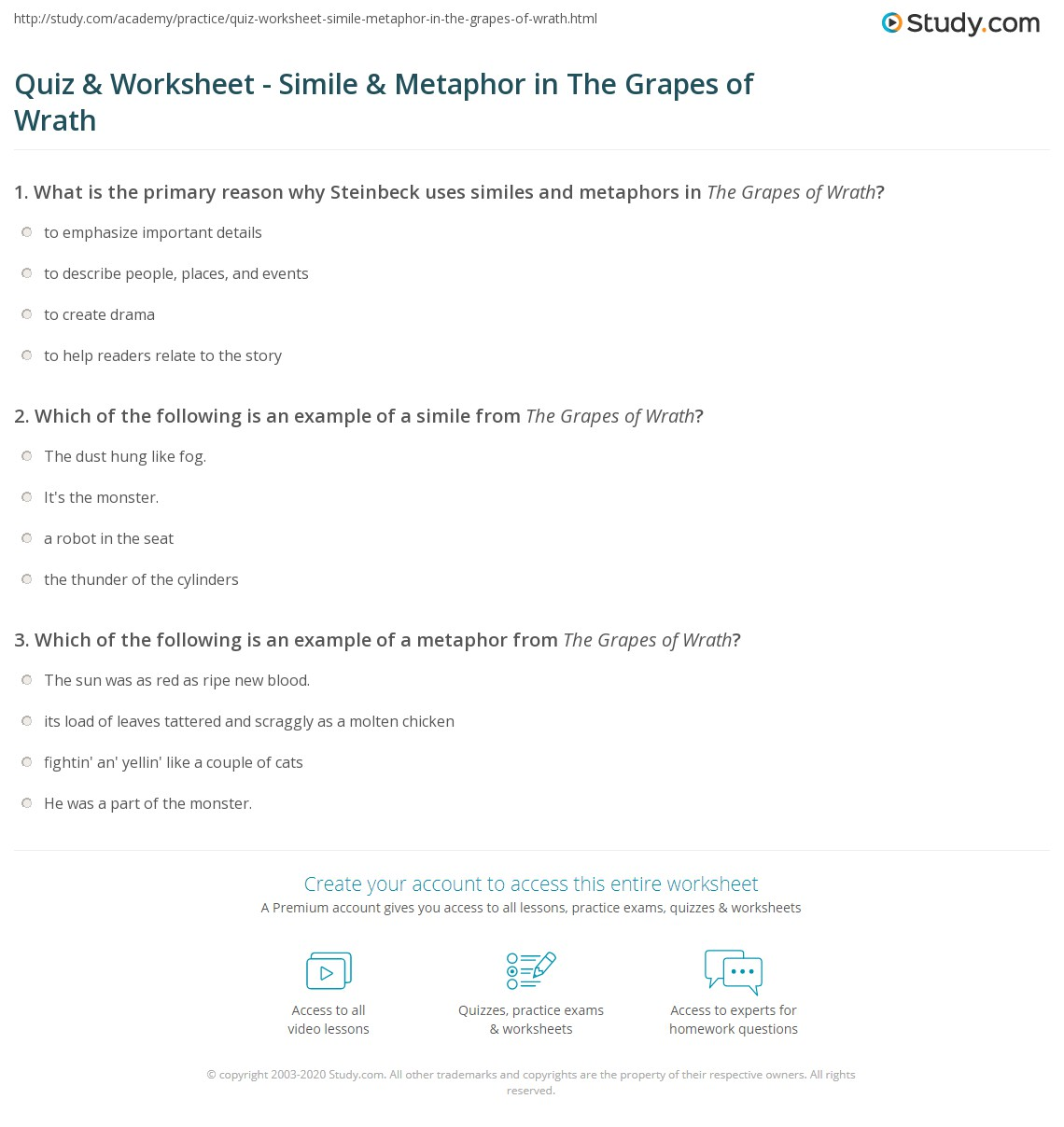 Example Metaphor Worksheet