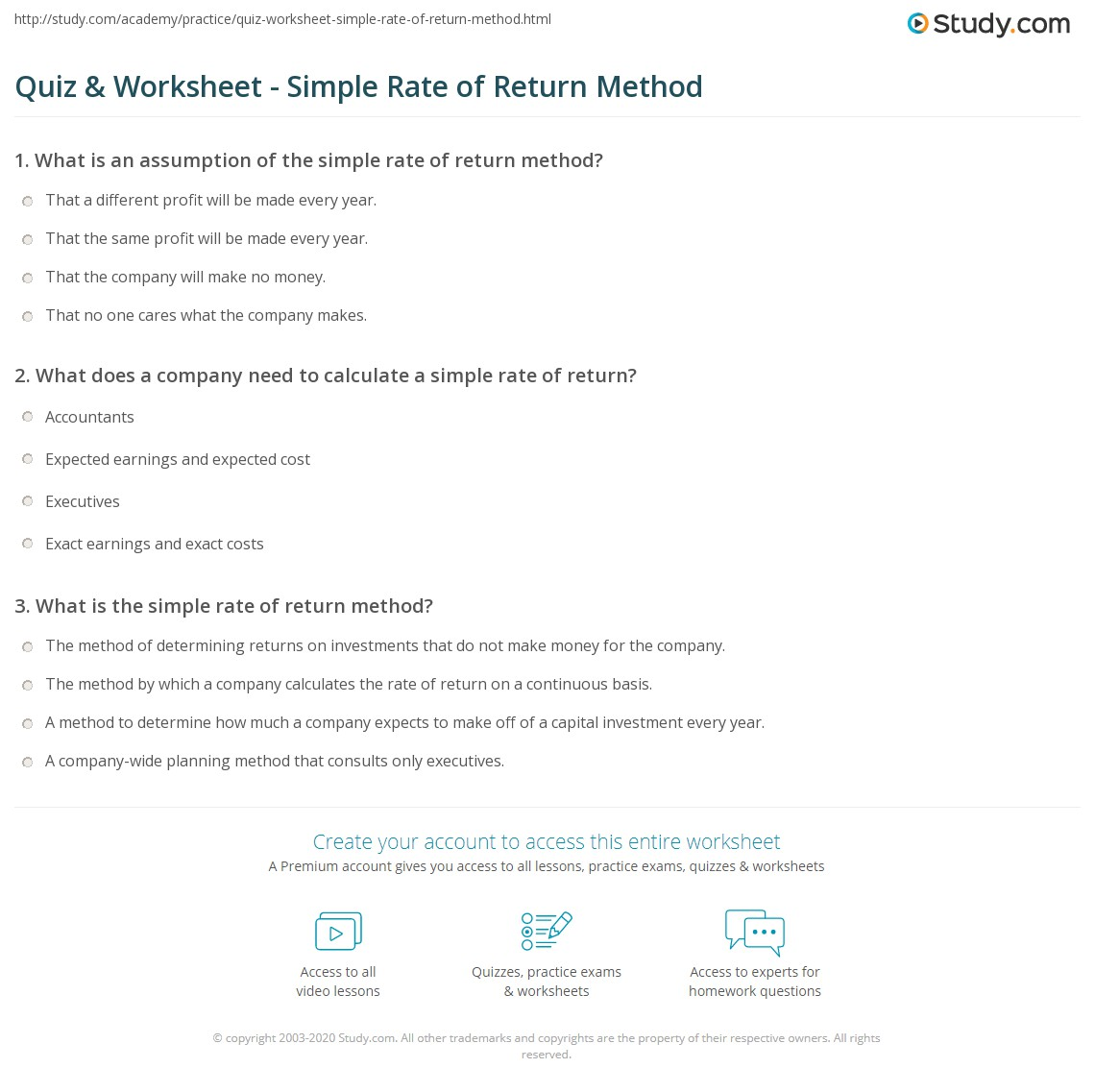 Quiz & Worksheet - Simple Rate of Return Method | Study.com