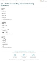 Simplifying Square Roots With Variables Worksheet Free ...